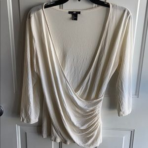 H&M WRAP IVORY TOP LARGE
